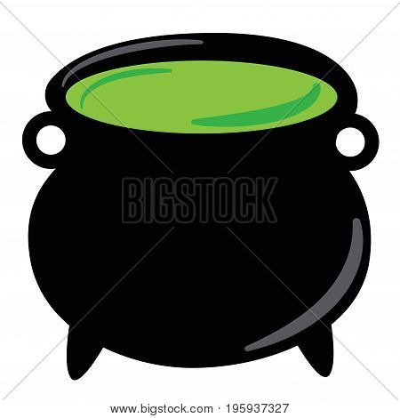 Happy Halloween Witch Cauldron with Green Potion