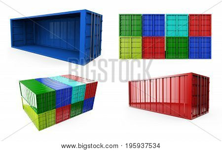 Blue shipping container isolated on white. 3D render. set