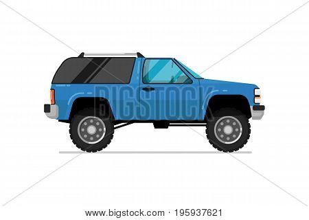 Off road truck icon. Comfortable auto vehicle, side view people city transport isolated vector illustration on white background.