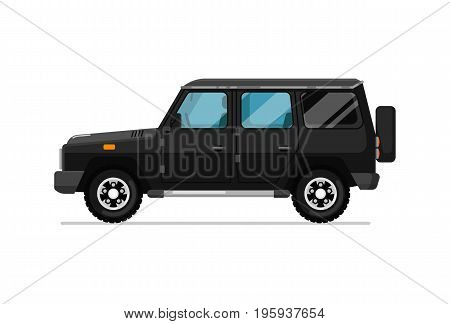 Luxury SUV icon. Comfortable auto vehicle, side view people city transport isolated vector illustration on white background.
