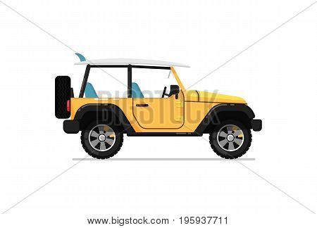 Off road car icon. Comfortable auto vehicle, side view people city transport isolated vector illustration on white background.
