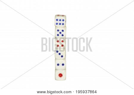 six gambling white dice lined up in a vertical column isolated on white