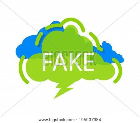 Fake speech bubble with expression text. Most commonly used replica label, dialog sticker isolated on white background vector illustration.