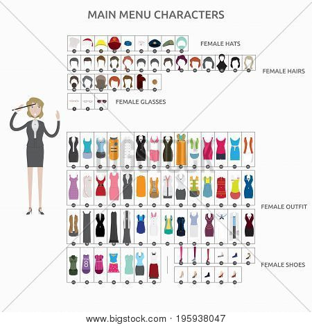 Character Creation Composer   set of vector character illustration use for human, profession, business, marketing and much more.The set can be used for several purposes like: websites, print templates, presentation templates, and promotional materials.