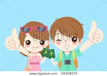cartoon couple go to travel and take passport on the blue background