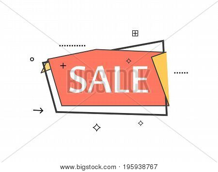 Retail speech bubble with Sale phrase. Most commonly used replica label, market promotion, marketing sticker isolated vector illustration.