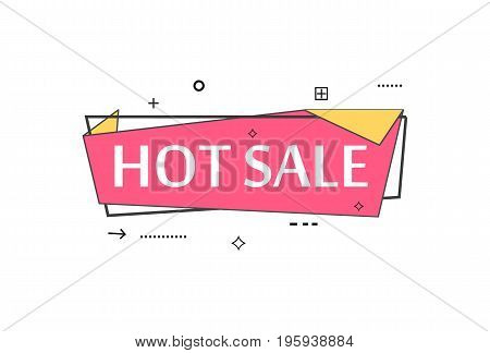 Retail speech bubble with Hot sale phrase. Most commonly used replica label, market promotion, marketing sticker isolated vector illustration.