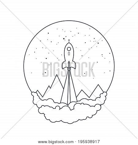 Spaceship on a Background of the Starry Sky and the Mountains, Spacecraft Flying in Space, Launch of a Space Rocket on White Background , Thin Linear Vector Illustration