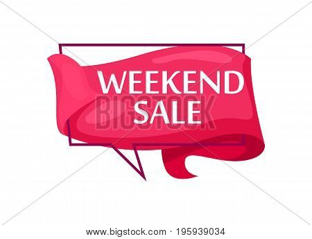 Marketing speech bubble with Weekend sale phrase. Most commonly used replica label, market promotion, retail sticker isolated vector illustration.