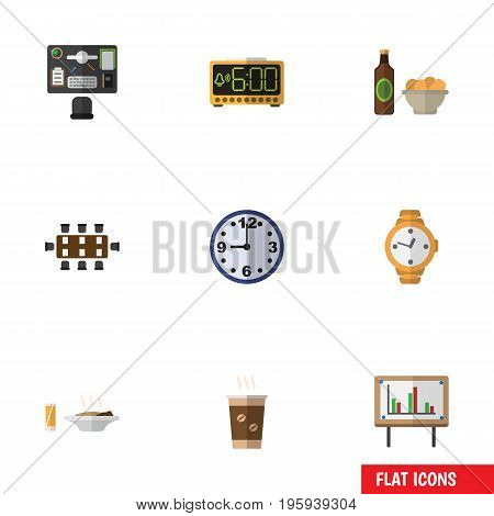 Flat Icon Lifestyle Set Of Timer, Beer With Chips, Bureau And Other Vector Objects