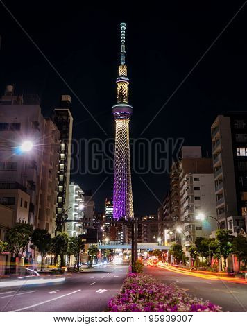 Tokyo Japan - May 2 2017: The Tokyo Skytree is lighten up at night.