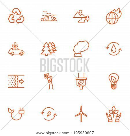 Set Of 16 Bio Outline Icons Set