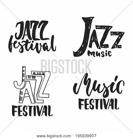 Jazz festival set - hand drawn music lettering quote isolated on the white background. Fun brush ink inscription for photo overlays, greeting card or t-shirt print, poster design