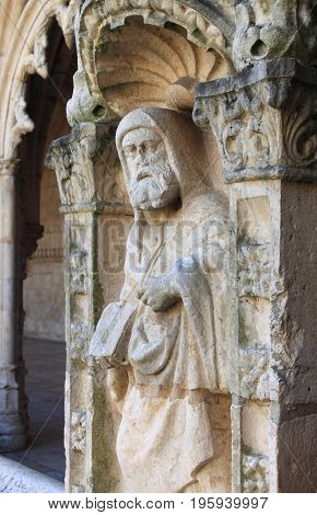 Bas-relief in the Jeronimos Monastery in Lisbon Portugal