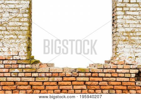 Broken bricks wall. Conceptual composition. Abstract background empty template.