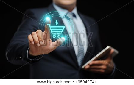 Businessman press button. Add To Cart Internet Web Store Buy Online E-Commerce concept