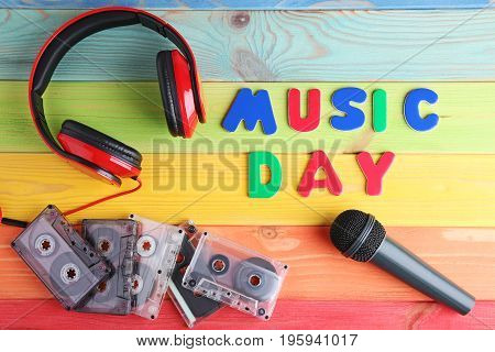 Cassette Tapes, Microphone And Headphones With Inscription Music Day