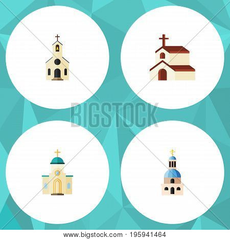 Flat Icon Church Set Of Building, Religion, Religious And Other Vector Objects