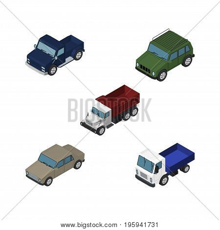 Isometric Automobile Set Of Armored, Lorry, Suv And Other Vector Objects