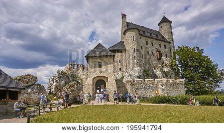 Bobolice, Poland - July 16, 2017: Medieval Castle In Bobolice On