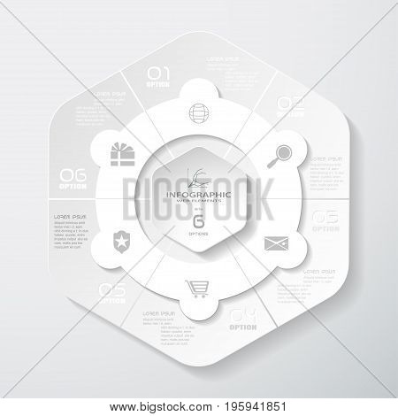 Vector infographic of gradient gray hexagonal forms cut from paper with shadows text and icons on the gradient gray background.