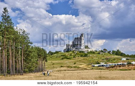 Mirow, Poland - July 16, 2017: Ruins Of Medieval Castle In Mirow