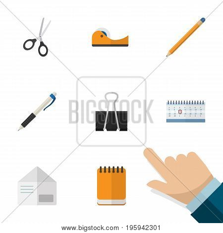 Flat Icon Stationery Set Of Date Block, Paper Clip, Pencil And Other Vector Objects