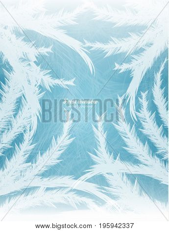 Frozen window background with hoarfrost patterns can be used for Christmas sale or New Year Party leaflet. Vector EPS10.