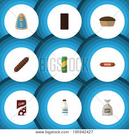 Flat Icon Eating Set Of Sack, Spaghetti, Confection And Other Vector Objects