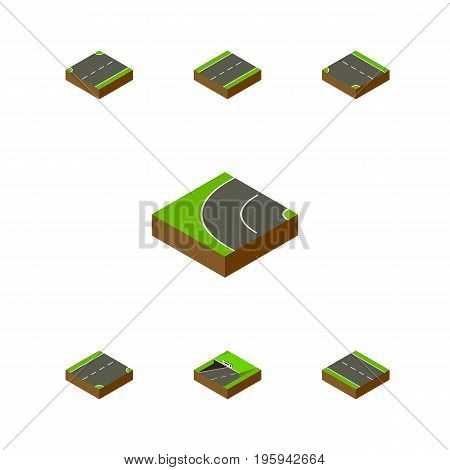 Isometric Way Set Of Down, Driveway, Single-Lane And Other Vector Objects