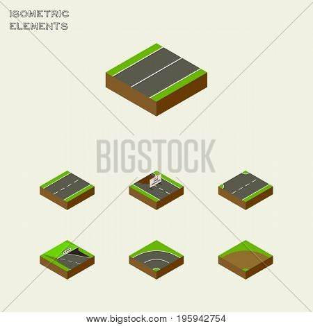 Isometric Way Set Of Driveway, Plane, Bitumen And Other Vector Objects
