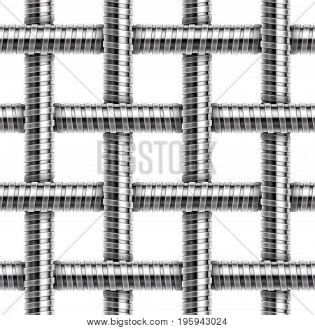 Vector seamless pattern of intersected shower hoses.