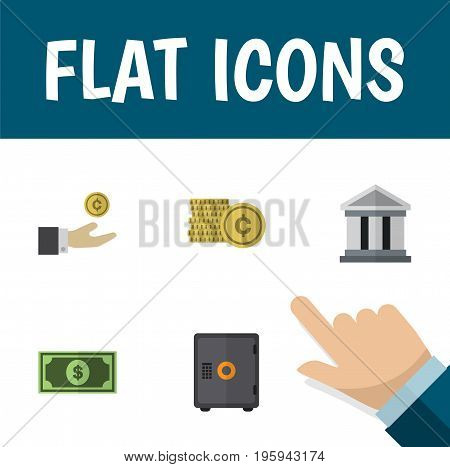 Flat Icon Incoming Set Of Cash, Strongbox, Hand With Coin Vector Objects