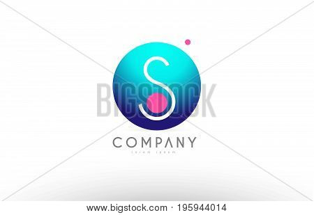 S Alphabet 3D Sphere Letter Blue Pink Logo Icon Design