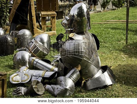 Detail of ancient medieval armor reproduction of protective clothing to fight crusades war