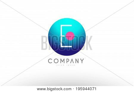 E Alphabet 3D Sphere Letter Blue Pink Logo Icon Design