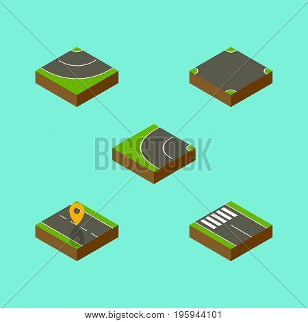 Isometric Road Set Of Strip, Crossroad, Navigation And Other Vector Objects