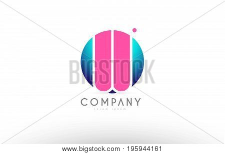 W Alphabet 3D Sphere Letter Blue Pink Logo Icon Design