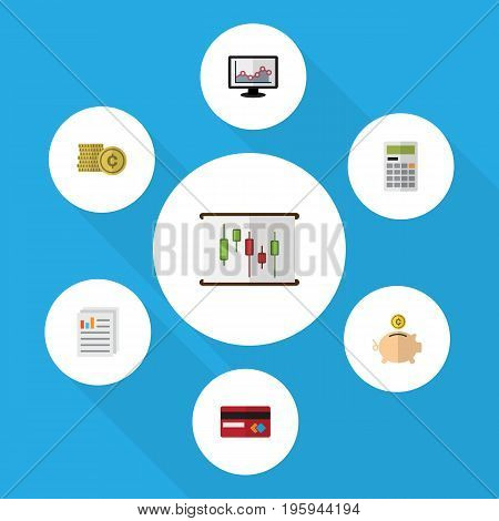 Flat Icon Gain Set Of Calculate, Cash, Chart And Other Vector Objects