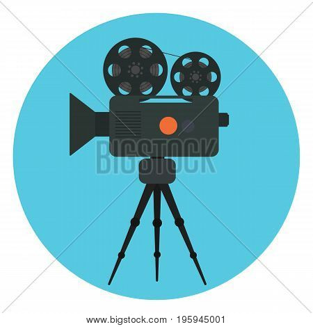 Flat vector retro cinema camera with film strip in bobbin and red button icon. Cinematography symbol for design logotype banners