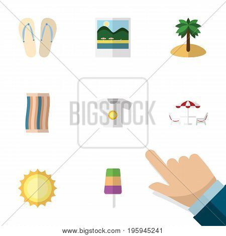 Flat Icon Summer Set Of Reminders, Clothes, Coconut And Other Vector Objects
