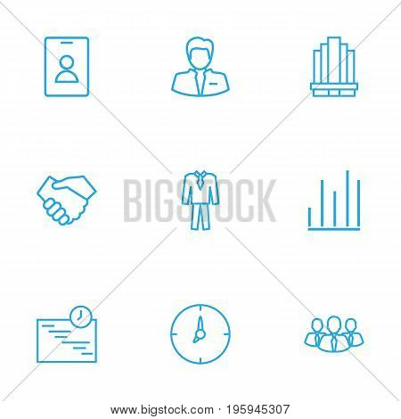 Set Of 9 Management Outline Icons Set