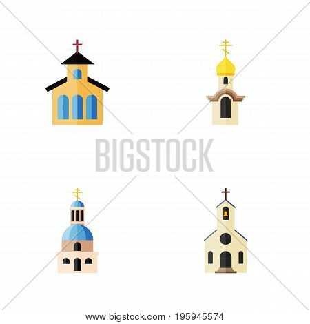 Flat Icon Church Set Of Structure, Building, Catholic And Other Vector Objects
