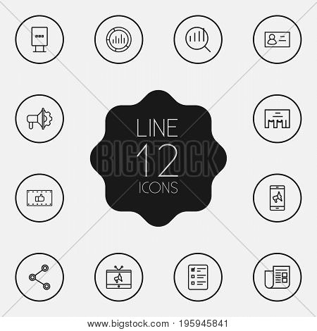 Set Of 12 Commercial Outline Icons Set