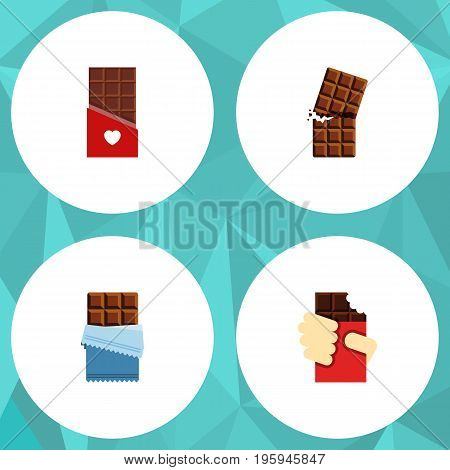 Flat Icon Sweet Set Of Bitter, Wrapper, Shaped Box And Other Vector Objects