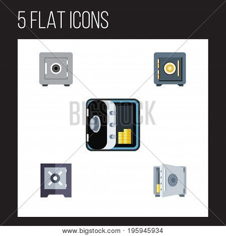 Flat Icon Safe Set Of Saving, Banking, Locked And Other Vector Objects