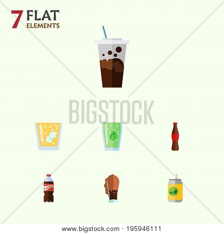 Flat Icon Drink Set Of Bottle, Soda, Carbonated And Other Vector Objects