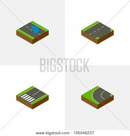 Isometric Way Set Of Footpassenger, Way, Down And Other Vector Objects