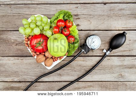 Top View Of Fresh Various Vegetables, Fruits And Blood Pressure Gauge On Wooden Surface, Healthy Eat