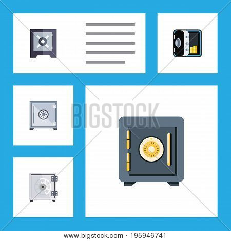 Flat Icon Closed Set Of Strongbox, Protection, Banking And Other Vector Objects